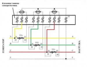 Схема подключения трансформаторов тока 06