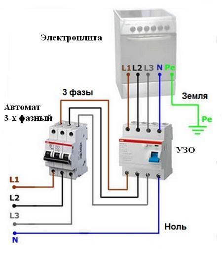 Схема подключения электроплиты 05