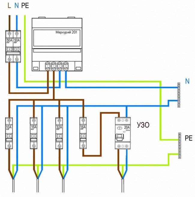 Вариант схемы электропроводки 03