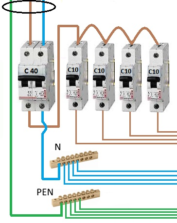 Подключение автоматов в щитке