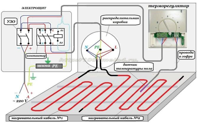 Схема подключения теплого пола к терморегулятору через магнитный пускатель