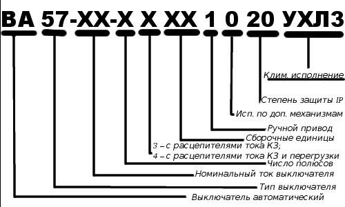 Маркировка автоматических выключателей 03