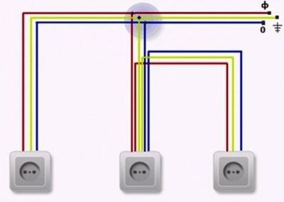 Параллельное подключение розеток через распределительную коробку и непосредственно с другой розетки 02