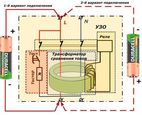 Проверка УЗО пальчиковой батарейкой