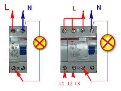 Проверка двух и четырехполюсного УЗО контрольной лампой
