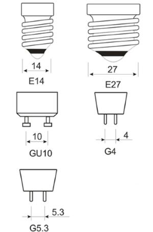 Типы цоколей энергосберегающих ламп