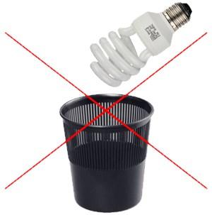 Выбрасывать осколки стекла разбитой энергосберегающей лампы в мусорную корзину запрещается