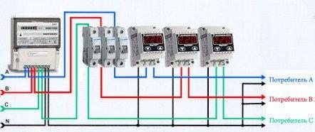Схема подключения однофазных реле напряжений в трехфазной сети