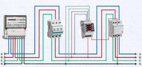 Схема подключения реле напряжения в трехфазной сети с магнитным пускателем