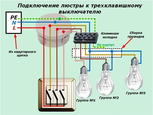 Схема подключения трехклавишного выключателя 03