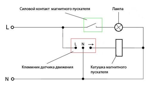 podklyuchenie-magnitnogo-puskatelya-k-datchiku-dvizheniya-pri-bolshoj-nagruzke