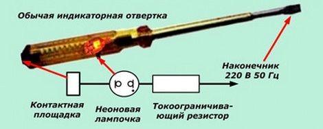 Неоновая индикаторная отвертка