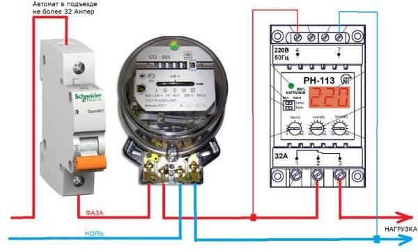 Подключение РН-113 в электрощитке